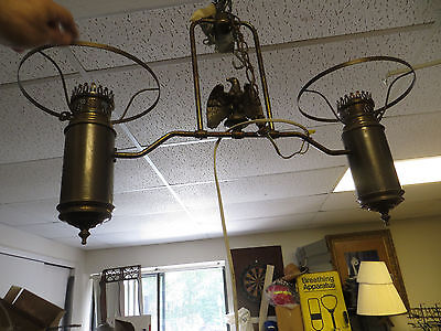 Vintage Eagle Double Hurricane Hanging Lamp Light Fixture Chandelier Pickup Only