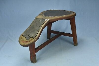 Antique VICTORIAN SHOE STORE SALESMAN FITTING STOOL ORIGINAL RED PAINT #06521