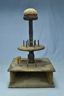 Antique VICTORIAN OAK THREAD SPOOL HOLDER with PINCUSHION on WOOD SPINDLE #06523
