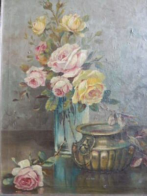 Old Antique Pink ROSES Oil Painting Artist Signed Dated 1925 Framed