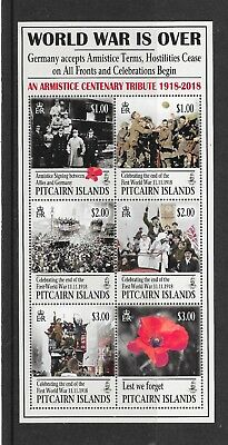 Pitcairn Islands 2018  NEW ISSUE Centenary of WWI Sheet  MNH