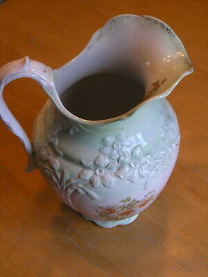 Antique Green Chamber Set Pitcher Raised Flowers & flowers Gilt Ro 3794H Perfect