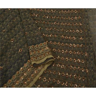 Tcw Vintage Saree Net Mesh Hand Beaded Black Fabric Premium 5 Yd Sari