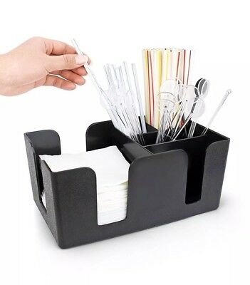Bar Condiment Caddy Tray Server Straws Holder with 6 Compartments Plastic Black