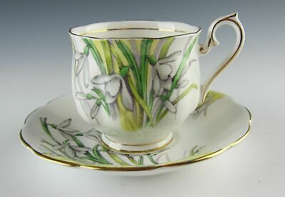 Royal Albert China FLOWER OF THE MONTH (OLDER HAMPTON) Snow Drop Cup and Saucer
