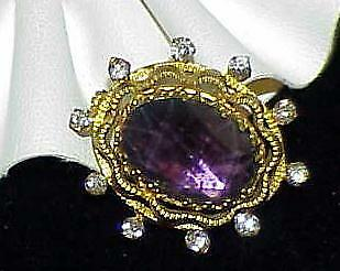 Victorian Amethyst Gold Pinchbeck Brooch Pin Rolled Gold Oval Cushion Eastlake