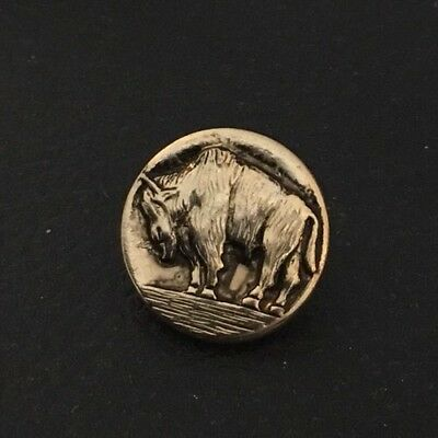 """Vintage 13/16"""" Realistic Novelty Figural Metal Gold Tone Buffalo Buttons"""