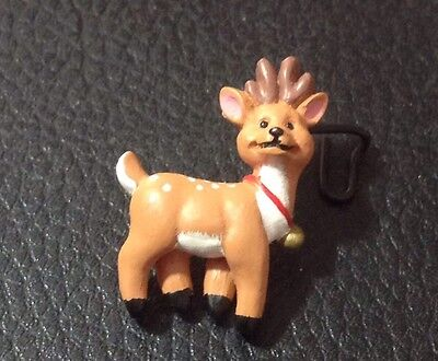 """Vintage 1 1/4"""" Realistic Novelty Figural Plastic Christmas Deer With Bell Button"""