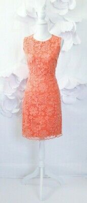 3902d49e68a42 Belle Badgley Mischka Lace Dress Womens 6 Coral Orange Cocktail Sleeveless