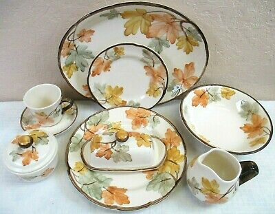 FRANCISCAN OCTOBER Autumn Leaves Dinner & Salad Plates, Bowls, Cups, Saucers