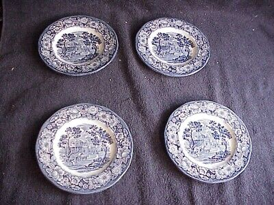 "Lot Of 4 Liberty Blue  ""monticello"" Staffordshire Ironstone Bread Plates"