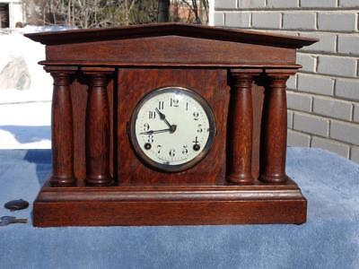 Pequegnat Pantheon Shelf Mantle Clock Original Oak Finish Painted Dial Canada