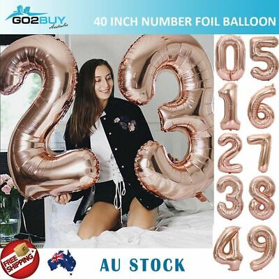 """40"""" Giant Rose Gold Foil Number Balloon Birthday Wedding Party Decoration"""