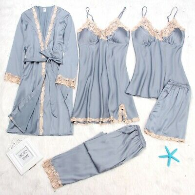 5 Pieces Silk Satin Sleepwear Women Pajamas Set Lace Sleep Nightwear Homewear