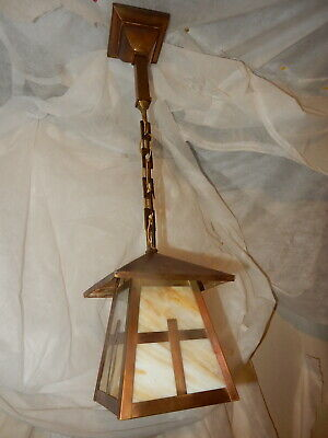 Mission Arts & Crafts Brass Pendant Light Fixture w Slag Glass Shade