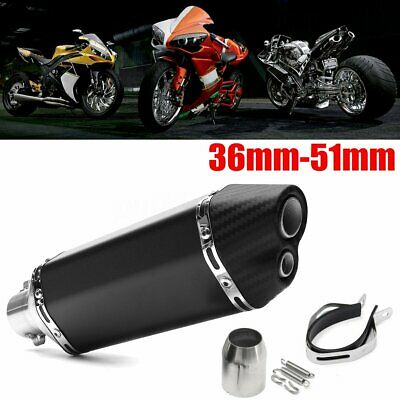 Universal Double Air Outlet Motorcycle Exhaust Muffler Pipe  Stainless Steel New