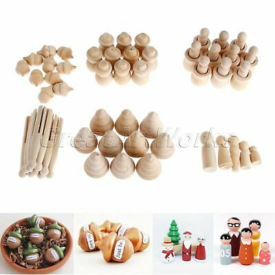 5/10Pcs Wooden Peg Dolls Unfinished Crafts Kids Painted Decoration Toy 6 Pattern