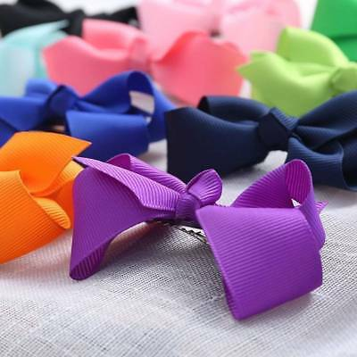 20Pcs Baby Girls Dot Hair Bows Band Boutique Alligator Clip Grosgrain Ribb WU