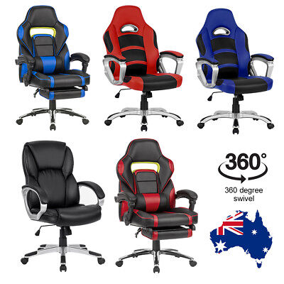 Ergonomic Racing Style Office HighBack Chair Seat Adjustable Height Leather Back