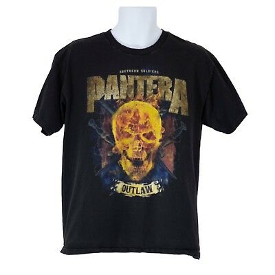 Mens Bravado Pantera Outlaw Southern Soliders Black Graphic T-Shirt Size L Large