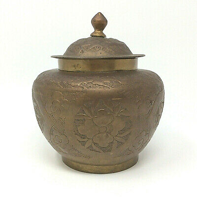Antique Hand Chased & Engraved Early Export Chinese Brass Covered Snuff Jar