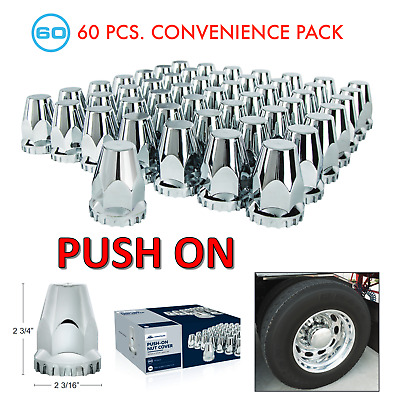 "(Set/60) Chrome Original Style Lug Nut Covers 33mm Push-On (2-3/4"" Tall) 60-Pack"
