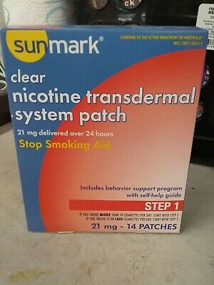 Sunmark Clear Nicotine Transdermal System Patches 21 mg Step 1, Exp 6/2020