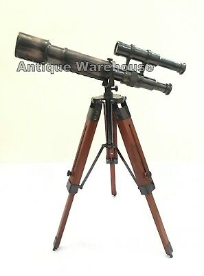 Antique Brass Leather Telescope With Wooden Tripod Stand Spyglass Marine Scope