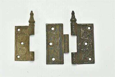 Antique 3 PIECES EMBOSSED VICTORIAN CAST IRON STEEPLE DOOR HINGE PARTS ONLY 6890
