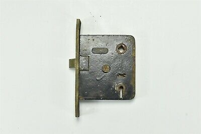Antique ORIGINAL CHICAGO BRASS PLATE CAST IRON MORTISE DOOR LOCK OLD #06898