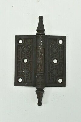 Antique EMBOSSED VICTORIAN CAST IRON STEEPLE DOOR HINGE SALVAGED #06888