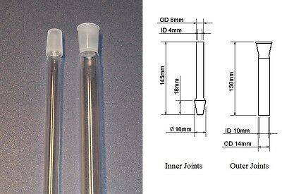 Fused quartz ground joints, type 10/18, Male and Female, free shipping
