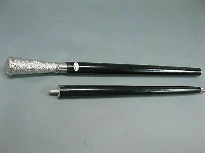 Solid Silver Pillar Head Handle Vintage Antqiue Wooden Walking Stick Cane Gift