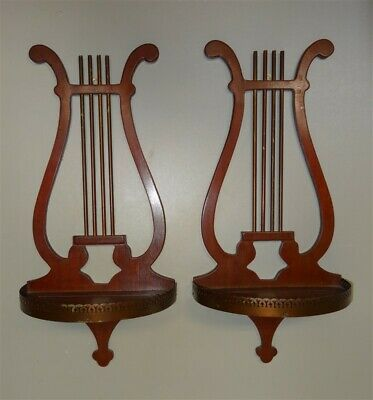 1930s 1940s Mahogany Lyre Curio Collectable Sconce Wall Display Shelves
