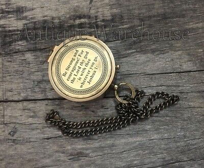 Be Strong and ....Antique Solid Brass Navigation Compass With Chain ~ JOSHUA 1: