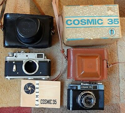 MADE USSR BOXED COSMIC 35 AND ZORKI 35mm FILM CAMERAS