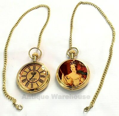 Shiny Brass Pocket Watch Nautical Working Watch With Chain By Antique Warehouse