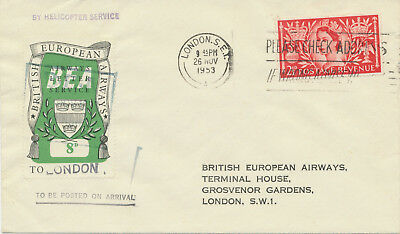 GB 1953 Helicopter First Flight QEII 2½D+BEA Airways Letter Service 8D to LONDON