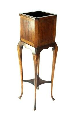 Antique Edwardian Inlaid Mahogany Jardiniere Plant Stand - FREE Shipping [5076]