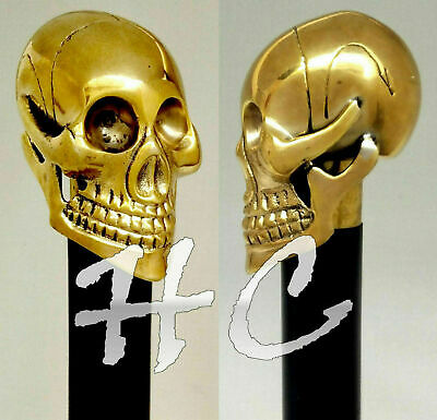 Solid Brass Skull Head Handle Vintage Antqiue Wooden Walking Stick Cane Gift