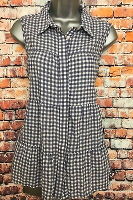 NEW NEXT 14 Blue White Gingham Check Tiered Long Sleeveless Tunic Shirt Blouse