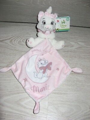 doudou chat marie blanc rose good night étoile lune disney baby neuf