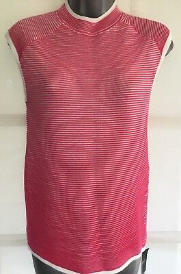 NEW NEXT 10 pink white stripe sleeveless fitted tank top tunic  jumper