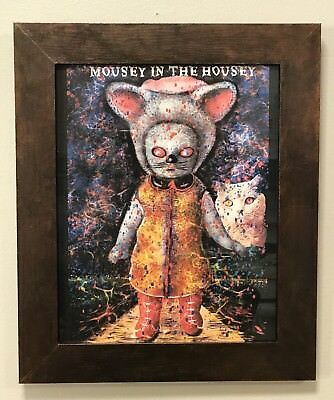 Creepy Original Framed Fine Art Print  ~MOUSEY IN THE HOUSEY~  Jocelyn Bullock