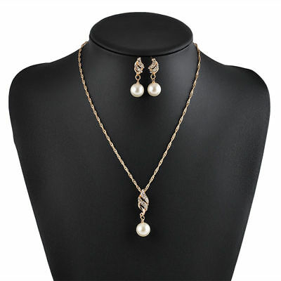Elegant Crystal Pearl Gold Plated Pendant Necklace Earrings Wedding Jewelry Set