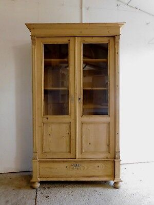 Large antique glazed stripped pine display cabinet linen cupboard bookcase