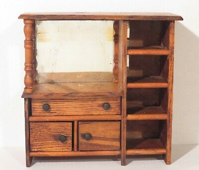 Antique Salesman Sample Oak Finish Dresser Doll Cabinet