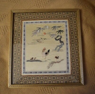 Chinese Embroidered Hen and Chicks on Silk
