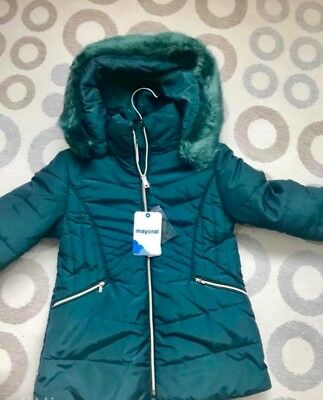 Girls Mayoral Coat With Faux Fur Hood/Padded Girls Winter Coat