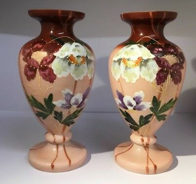 "PAIR ANTIQUE 11"" LARGE VICTORIAN GLASS HAND PAINTED ENAMELLED VASE c1840"